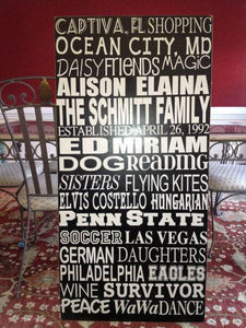 24in x 48in Custom Wood Typography Sign