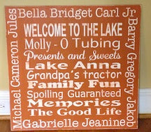 24in x 24in Custom Wood Typography Sign