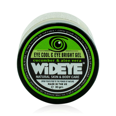 Natural vegan skincare Eye Cool eye gel in glass jar, handmade by WiDEYE in Rye.