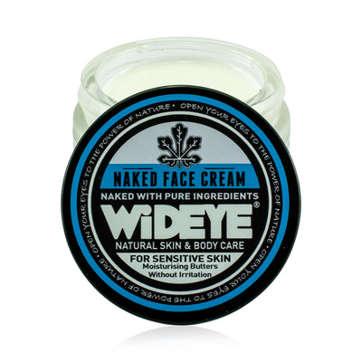 Natural vegan skincare Naked face cream moisturiser in glass jar handmade by WiDEYE in Rye.