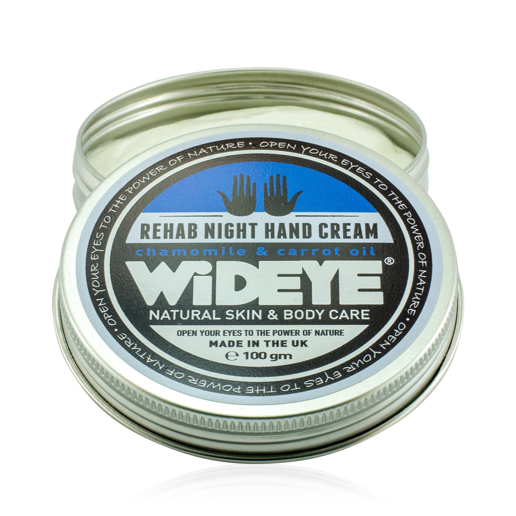 Natural vegan skincare 'Rehab' night hand cream in aluminium tin with lid off, handmade by WiDEYE in Rye.
