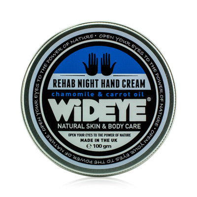 Natural vegan skincare 'Rehab' night hand cream in aluminium tin, handmade by WiDEYE in Rye.