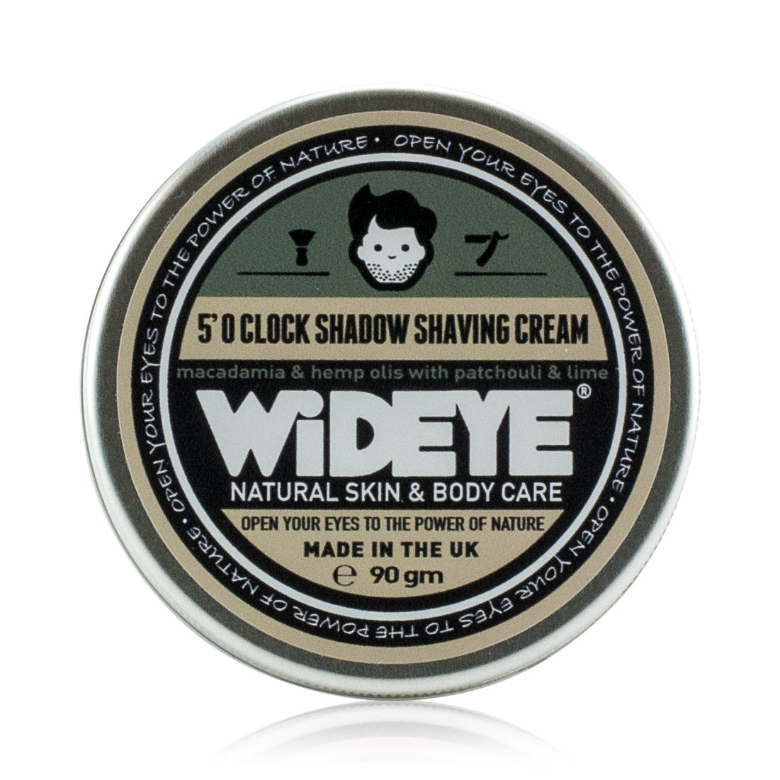 Natural vegan skincare 'Five O' Clock Shadow' shaving cream in aluminium tin handmade by WiDEYE in Rye.