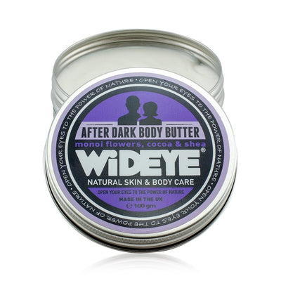 Natural skincare 'After Dark' Monoi Flower ethical body butter in recyclable pot by WiDEYE with essential oils