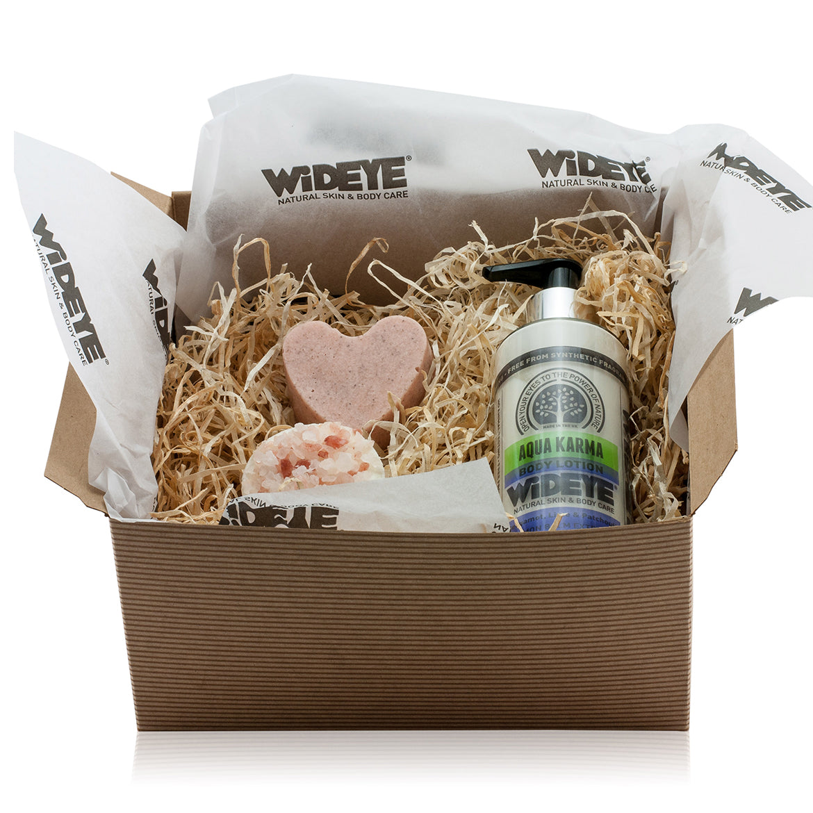 Natural vegan skincare gift box with body lotion, body scrub and bath melt by WiDEYE.