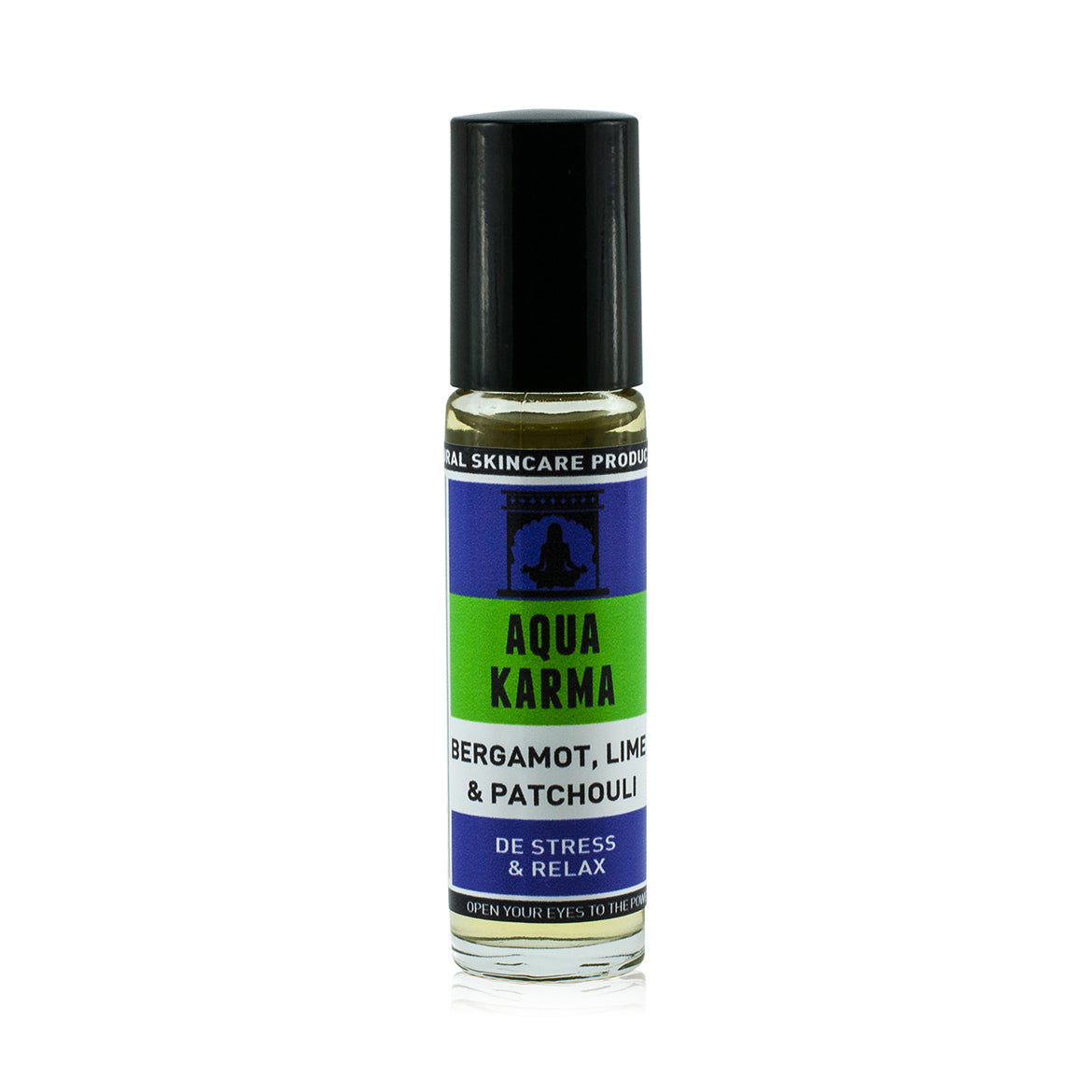 Natural vegan skincare 'Aqua Karma' essential oil mood roller with patchouli, bergamot and lime by WiDEYE.