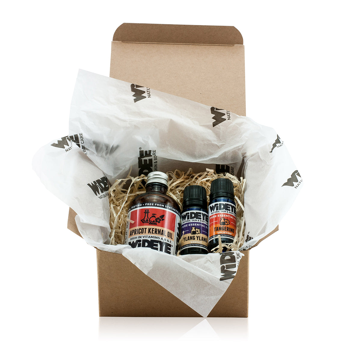 Natural aromatherapy essential oil gift box with Apricot oil, Ylang Ylang oil and Tangerine oil by WiDEYE.