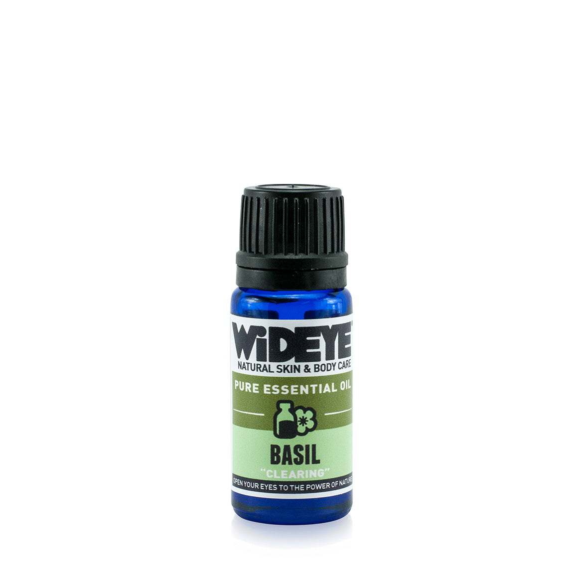 Natural vegan Basil essential oil in glass bottle for aromatherapy.