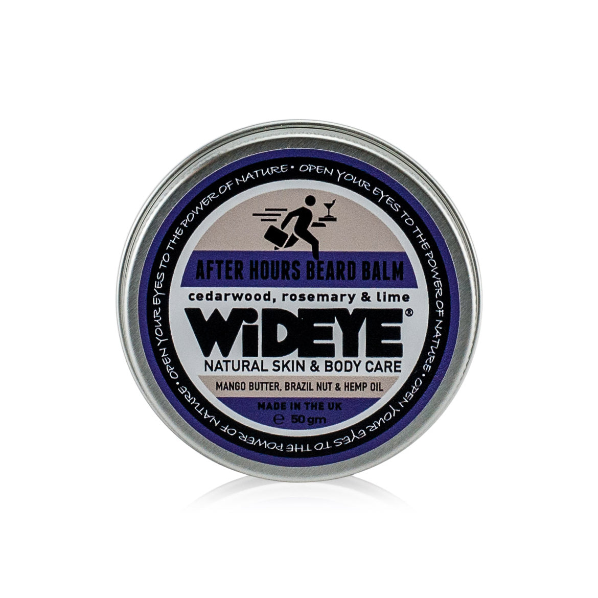 Natural Vegan skincare 'After Hours' Sandalwood, Rosemary and Lime nourishing balm for beards, in recyclable pot by WiDEYE with essential oils.