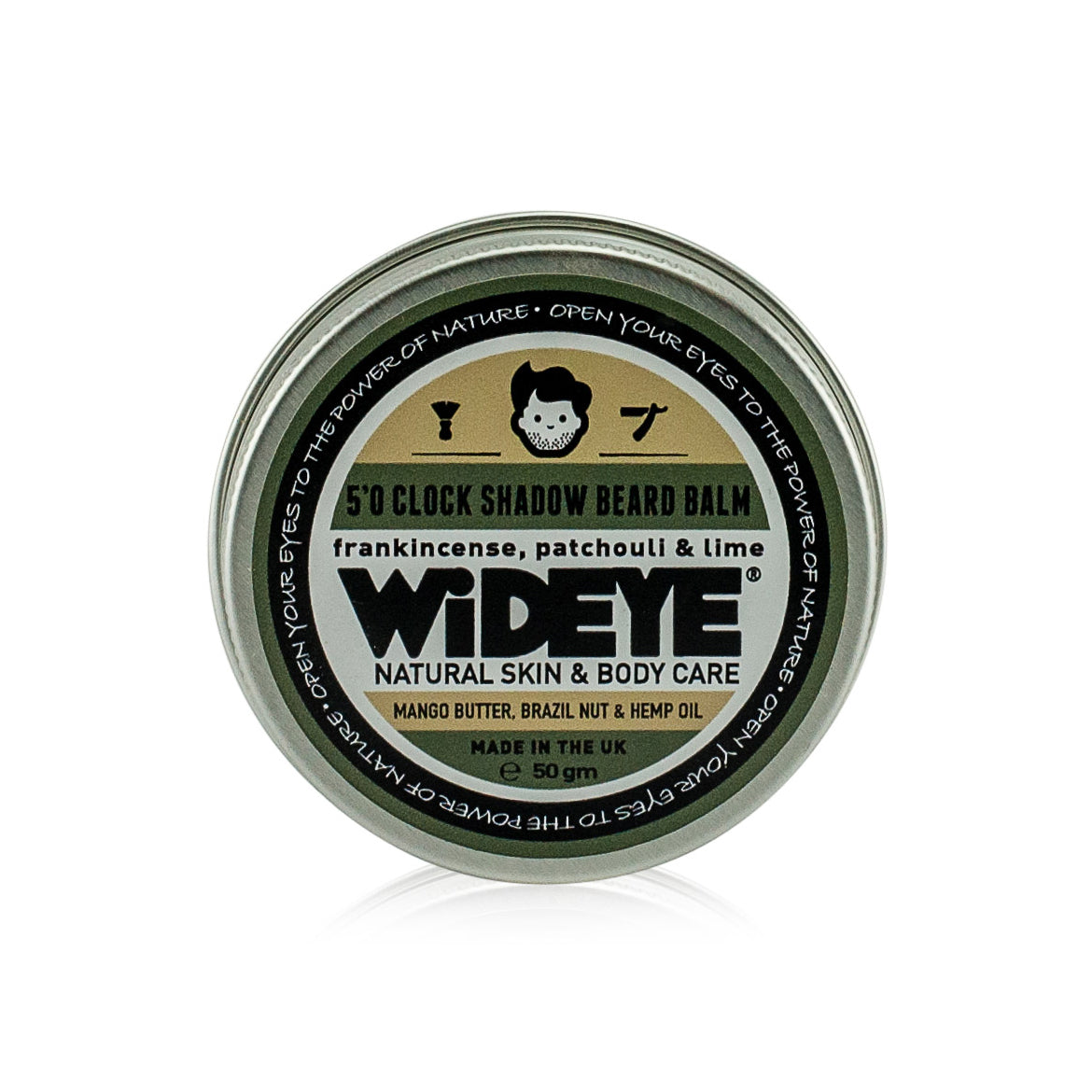 Natural vegetarian skincare 'Five O Clock Shadow' beard balm in aluminium tin handmade by WiDEYE in Rye.