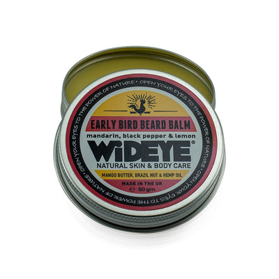 Natural vegetarian skincare 'Early Bird' beard balm in aluminium tin with lid off handmade by WiDEYE in Rye.