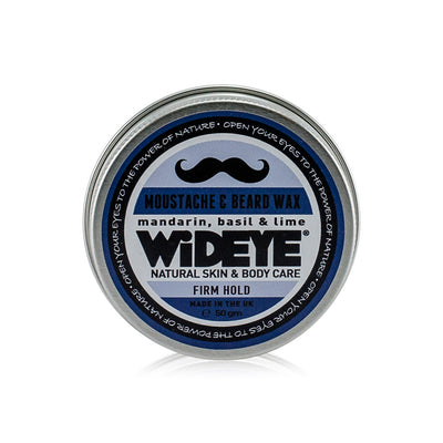 Natural vegan skincare firm moustache wax in aluminium tin handmade by WiDEYE in Rye.