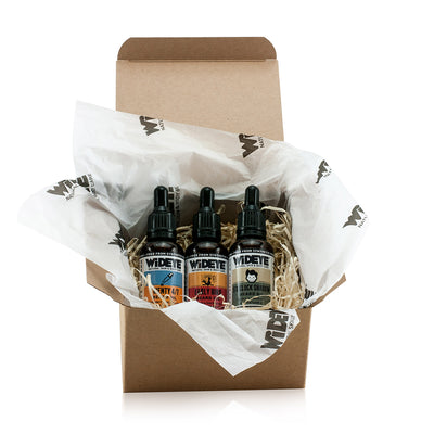 Natural vegan skincare 'Beardy Box' gift box for men containing three different beard oils in glass bottles handmade by WiDEYE in Rye.