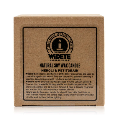 Natural vegan soy wax Lavender & Vetiver scented candle in box handmade by WiDEYE in Rye.