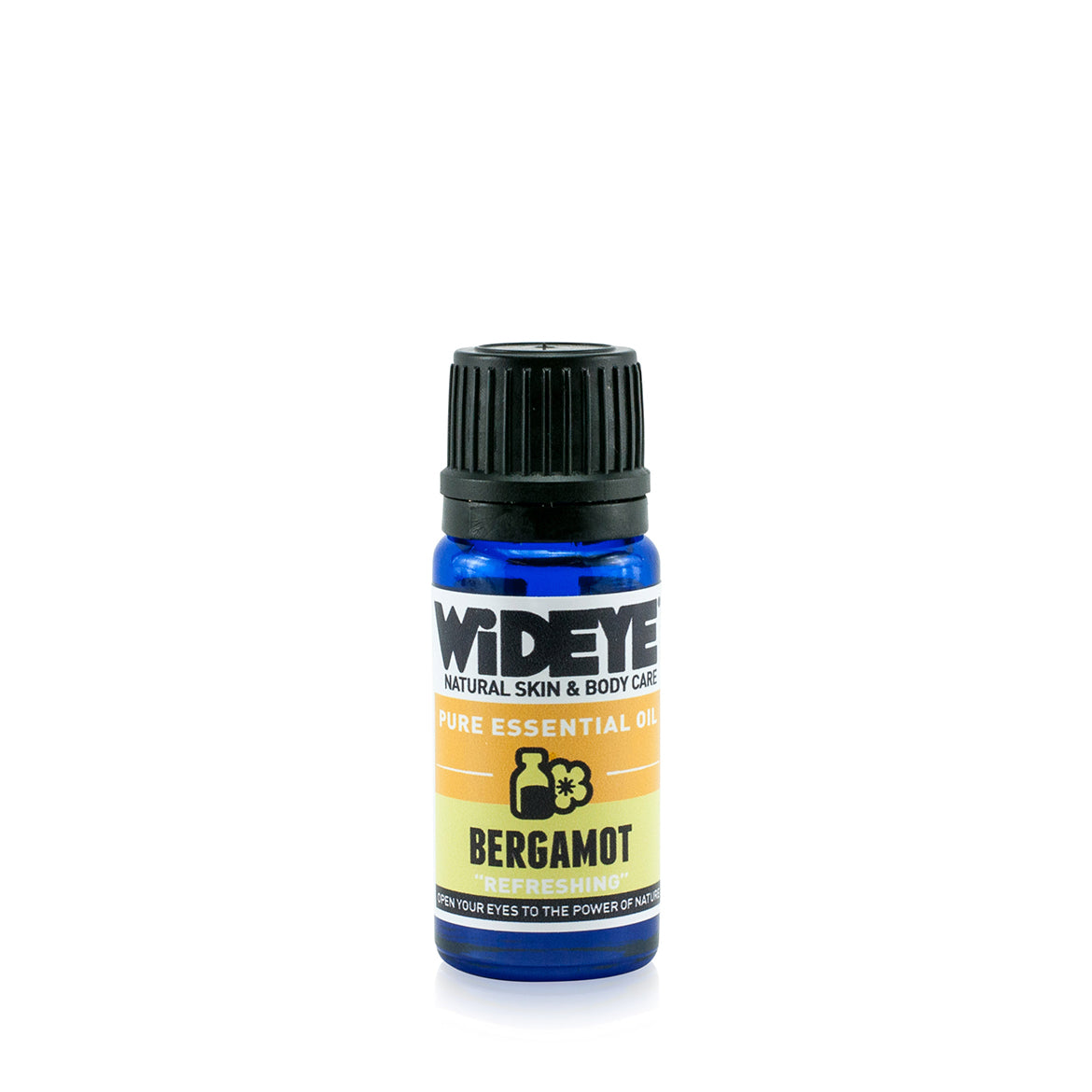 Natural aromatherapy Bergamot essential oil in glass bottle by WiDEYE
