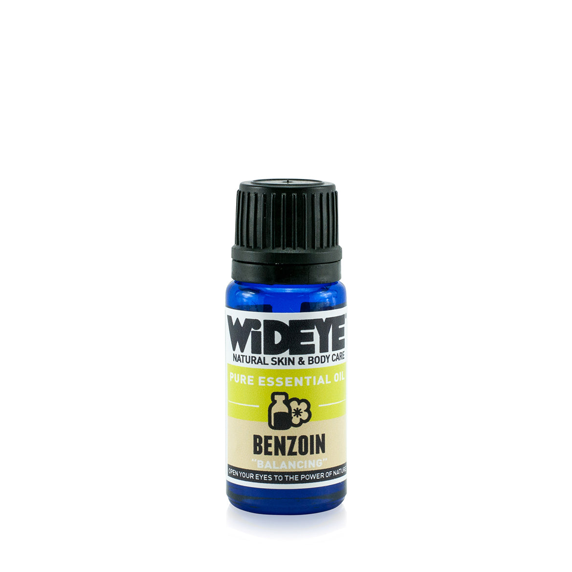 Natural vegan aromatherapy Benzoin essential oil in glass bottle.