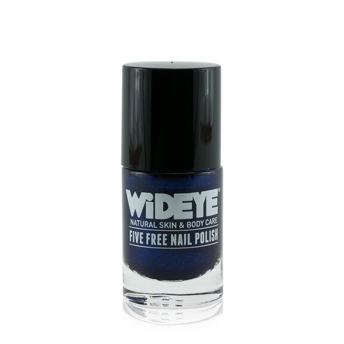 Intense cobalt blue nail varnish in glass bottle by WiDEYE.