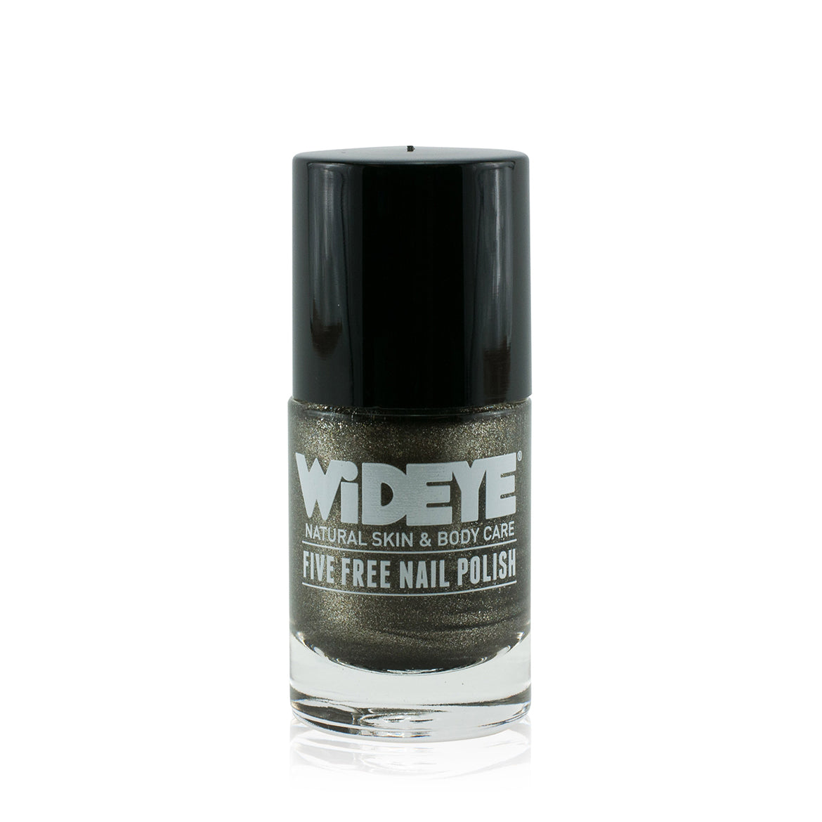 Pewter grey with shimmer nail varnish in glass bottle by WiDEYE.