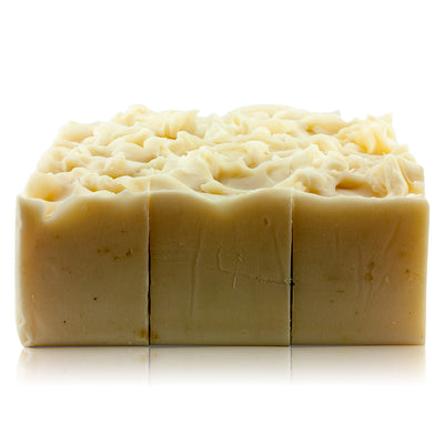 Natural vegan skincare naked cocoa butter soap block, handmade by WiDEYE in Rye.