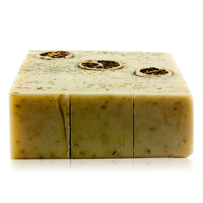 Natural vegan skincare soap block with cucumber and lime handmade by WiDEYE in Rye.