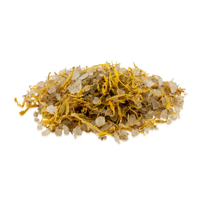 Natural vegan skincare Dead Sea bath salts with Marigold flowers handmade by WiDEYE in Rye.