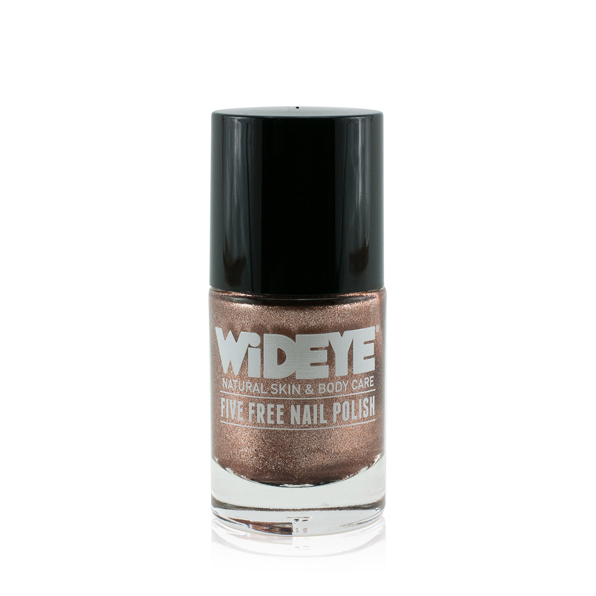 Bronze shimmer nail varnish in glass bottle by WiDEYE.