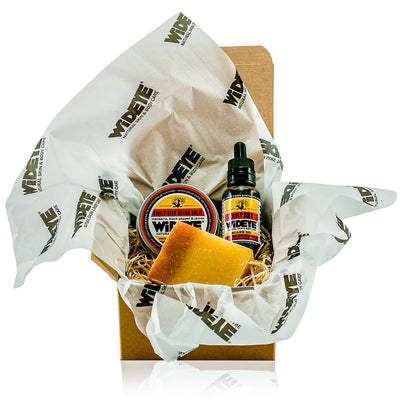 Natural skincare 'Early Bird' gift for him including beard oil, beard balm and handmade soap by WiDEYE in Rye.