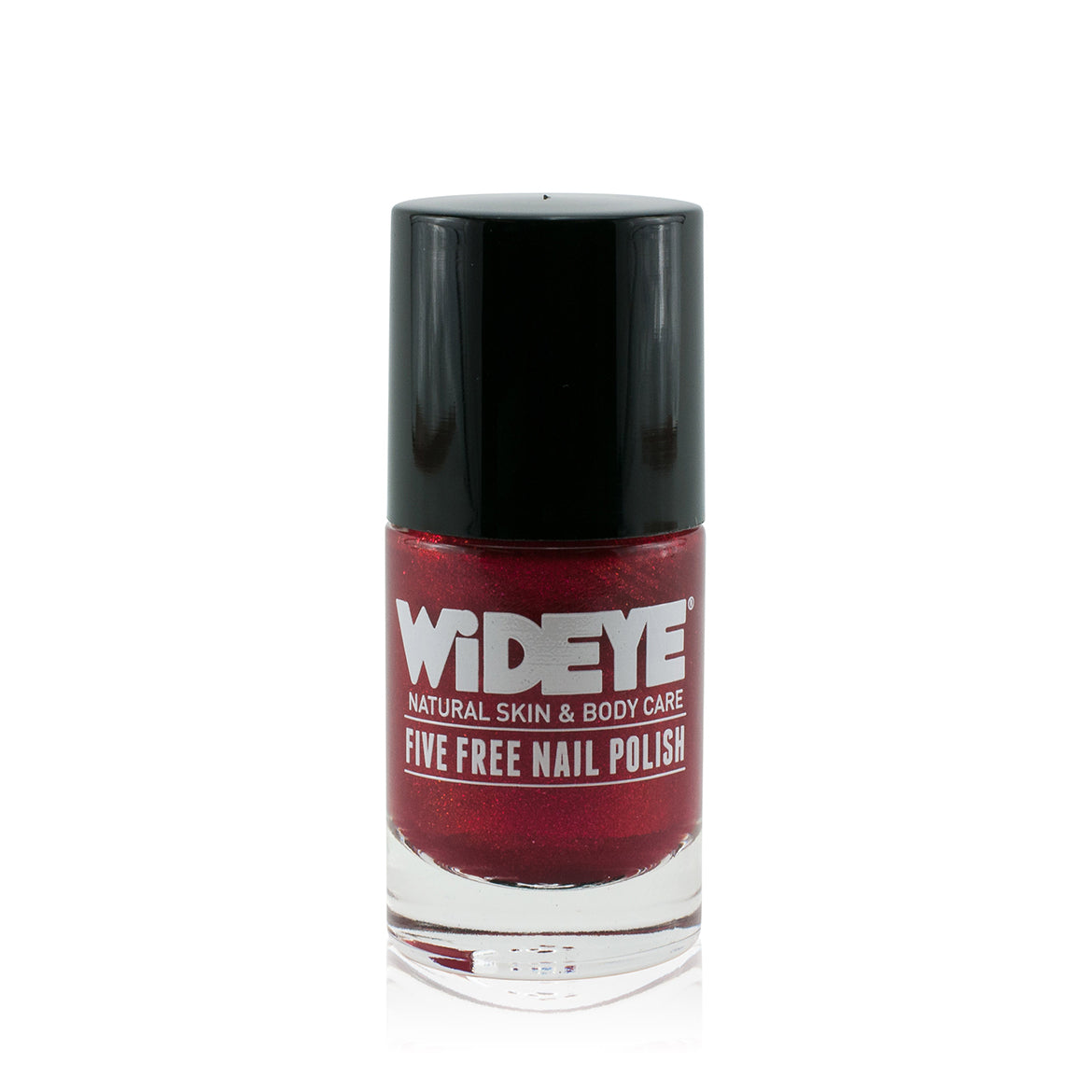 Intense red shimmer nail varnish in glass bottle by WiDEYE.