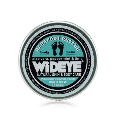 Natural vegan skincare 'Barefoot Rescue' foot balm in aluminium tin made with peppermint and aloe vera by WiDEYE in Rye.