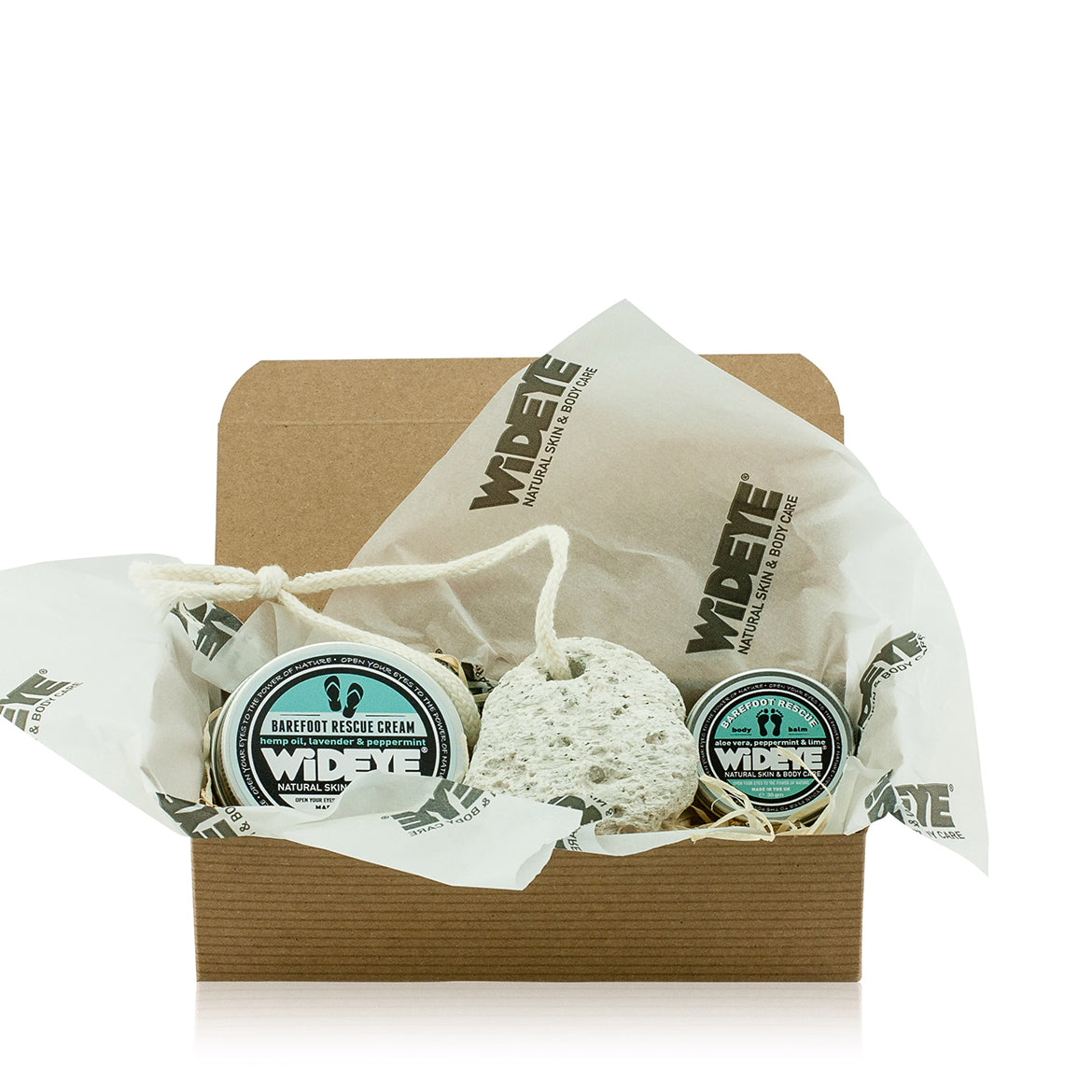Natural Christmas Foot Care Gift with Peppermint Foot Cream, Foot Balm and a Volcanic Lava Pumice Stone.