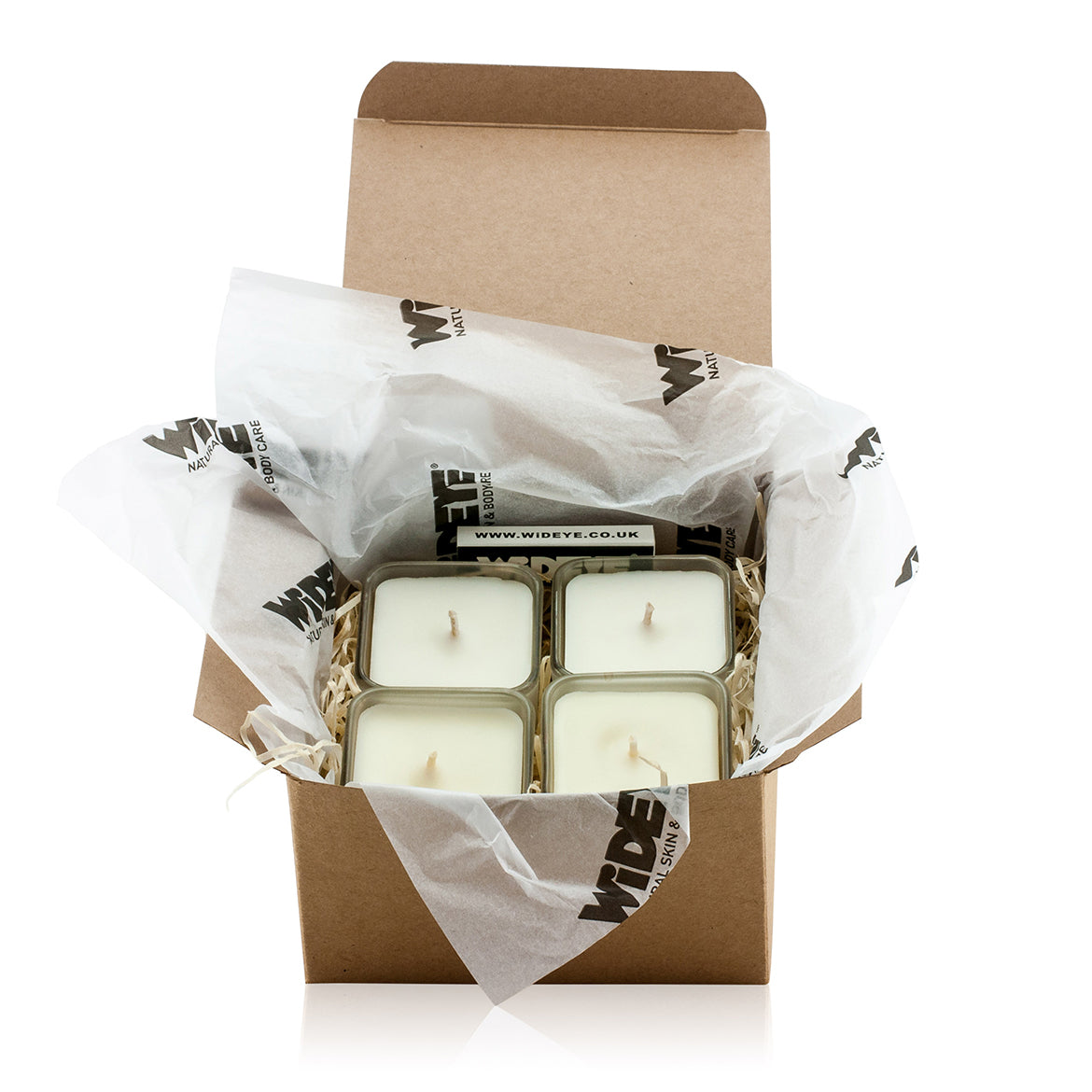 Natural vegan aromatherapy home gift box with four scented soy wax candles handmade by WiDEYE in Rye.