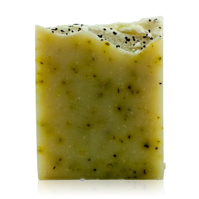 Natural vegan skincare green Avocado soap with poppy seeds handmade in Rye by WiDEYE.