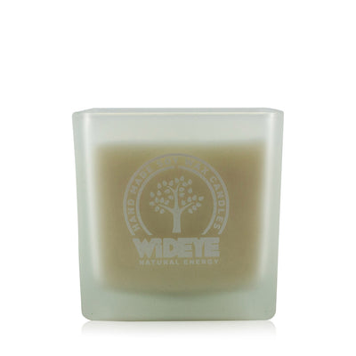 Natural vegan soy wax Lavender & Vetiver scented candle in medium frosted glass jar handmade by WiDEYE in Rye.