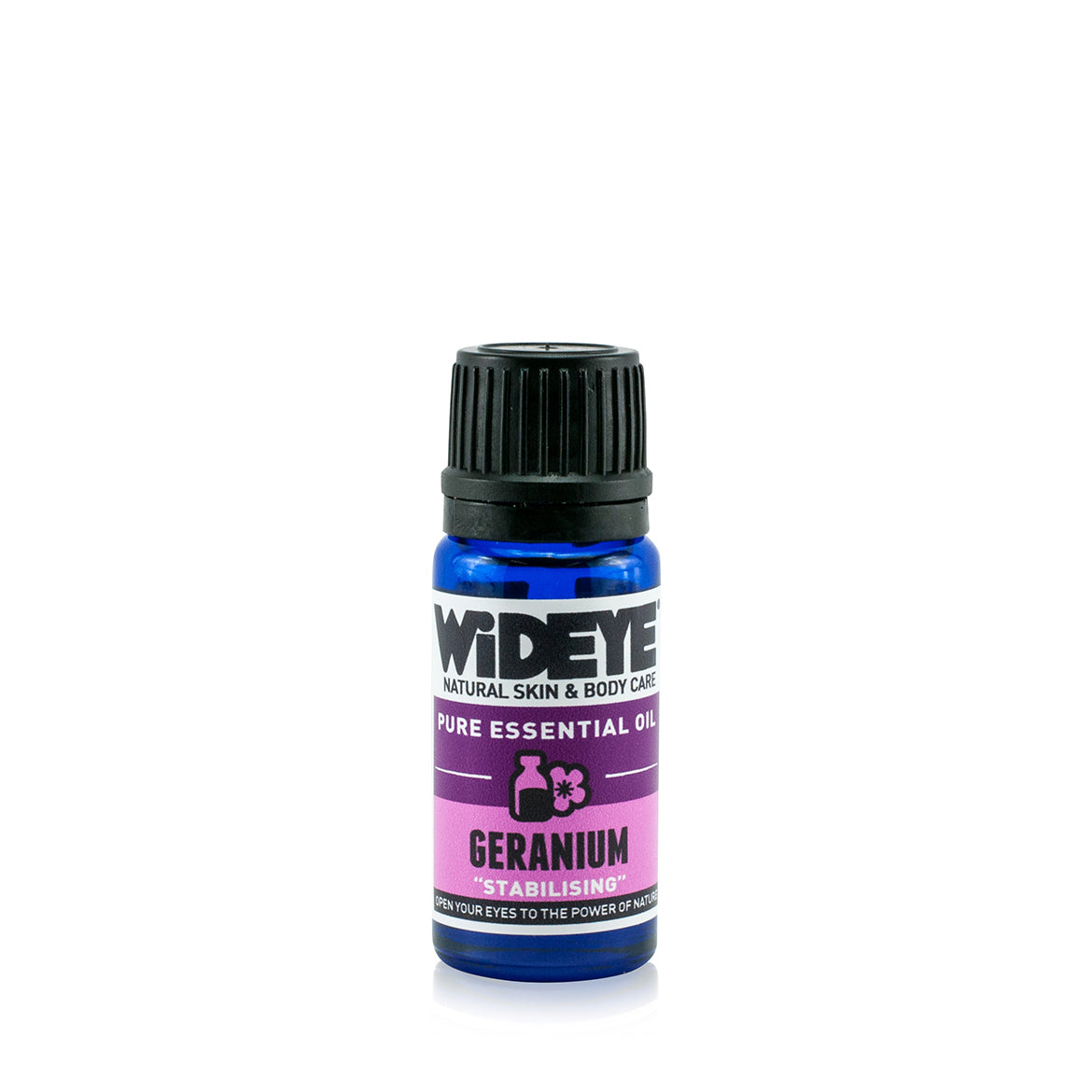 Natural aromatherapy Geranium essential oil in glass bottle by WiDEYE