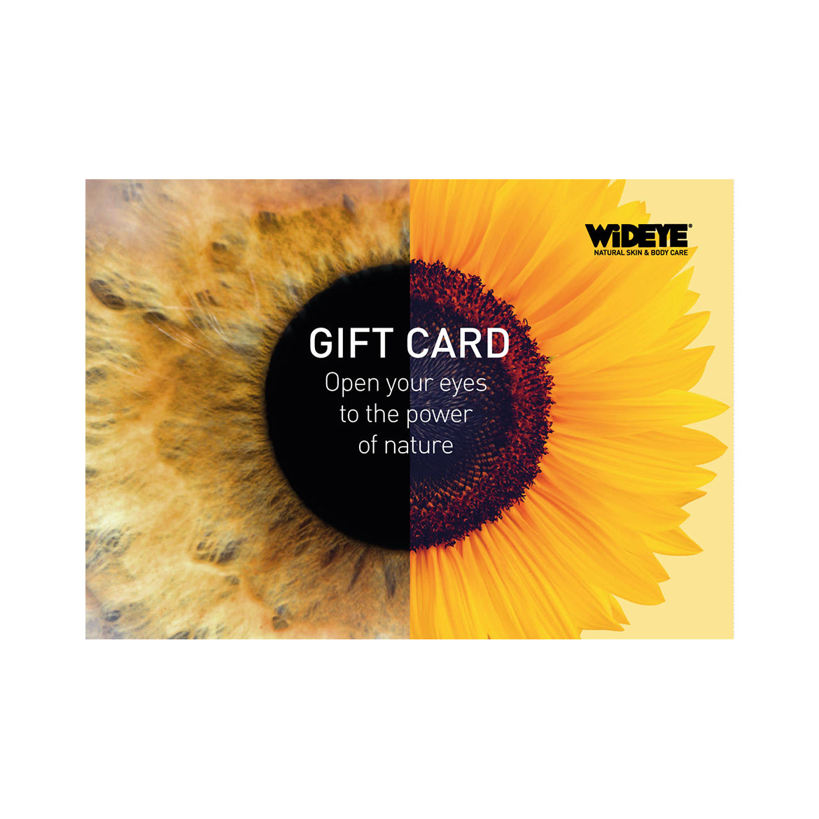 WiDEYE online Gift Card with sunflower and eye logo.