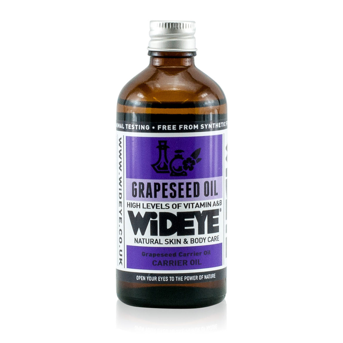 Natural aromatherapy Grapeseed carrier oil in glass bottle for blending and massage handmade by WiDEYE in Rye.