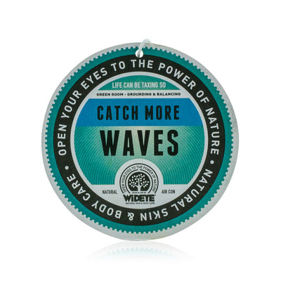 Natural aromatherapy 'Green Room' re-chargeable air freshener for your car or home with 'Catch More Waves' slogan, handmade by WiDEYE in Rye.