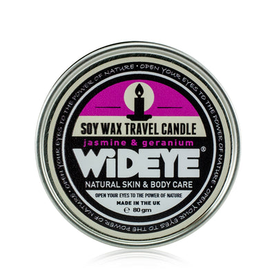 Natural aromatherapy vegan soy wax Jasmine and Geranium scented candle in an aluminium travel tin handmade by WiDEYE in Rye.