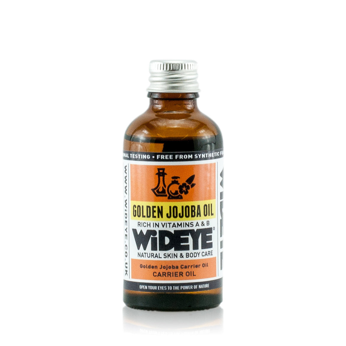 Natural aromatherapy Jojoba carrier oil for massage and blending in glass bottle by WiDEYE.