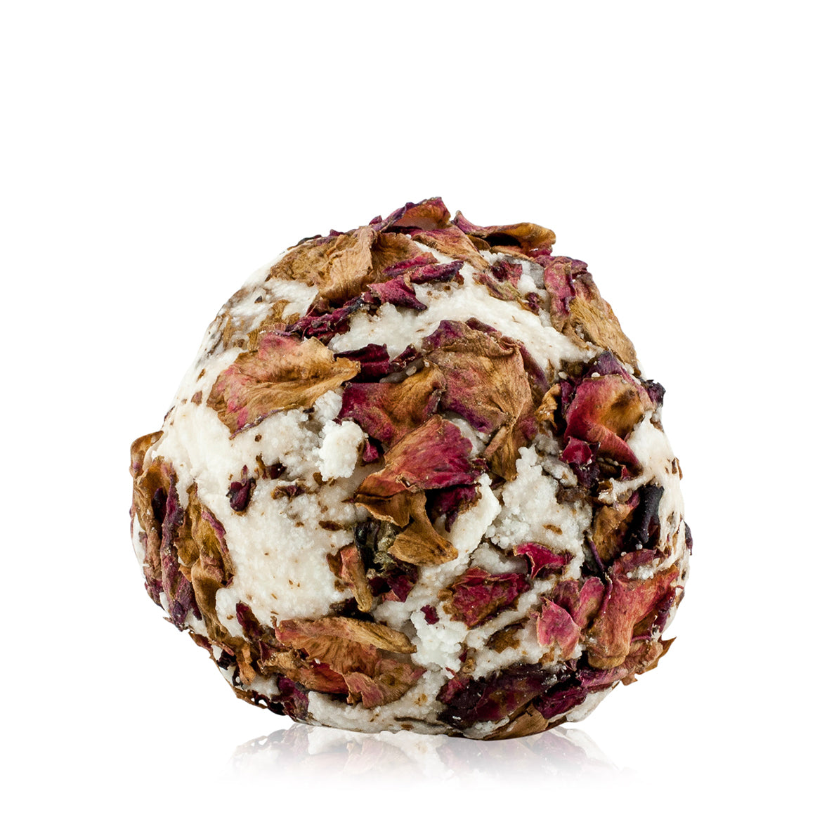 Natural vegan skincare Kaolin clay bath melt ball decorated with rose petals handmade by WiDEYE in Rye.
