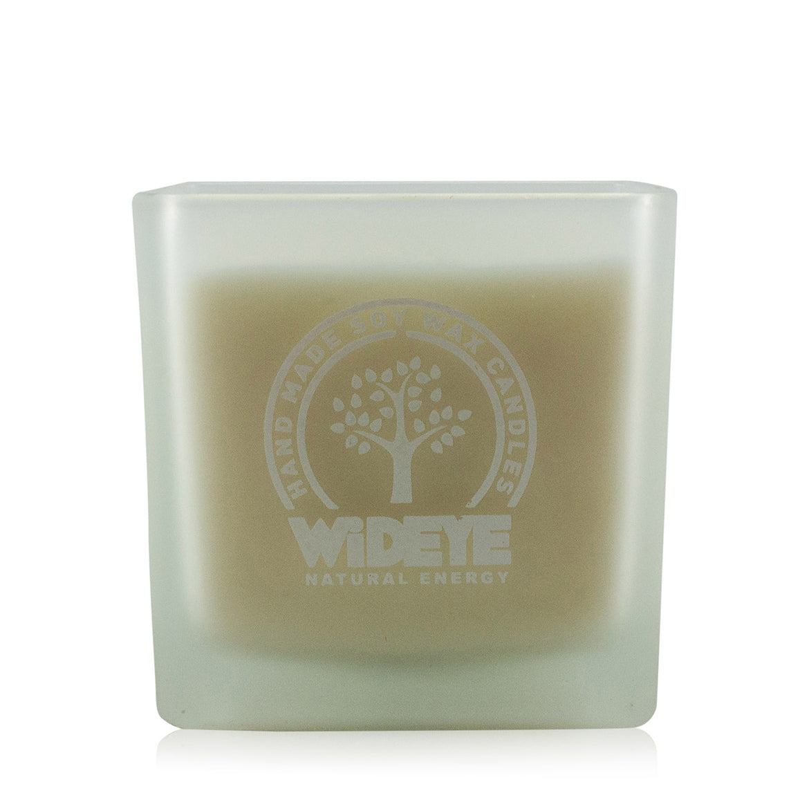 Natural vegan soy wax Lavender & Vetiver scented candle in large frosted glass jar handmade by WiDEYE in Rye.