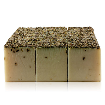 Natural vegan skincare lavender butter soap block decorated with lavender buds with no packaging, handmade by WiDEYE in Rye.