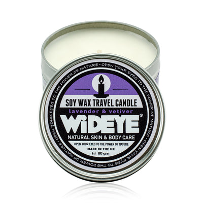 Natural vegan soy wax Lavender & Vetiver scented candle in aluminium travel tin handmade by WiDEYE in Rye.