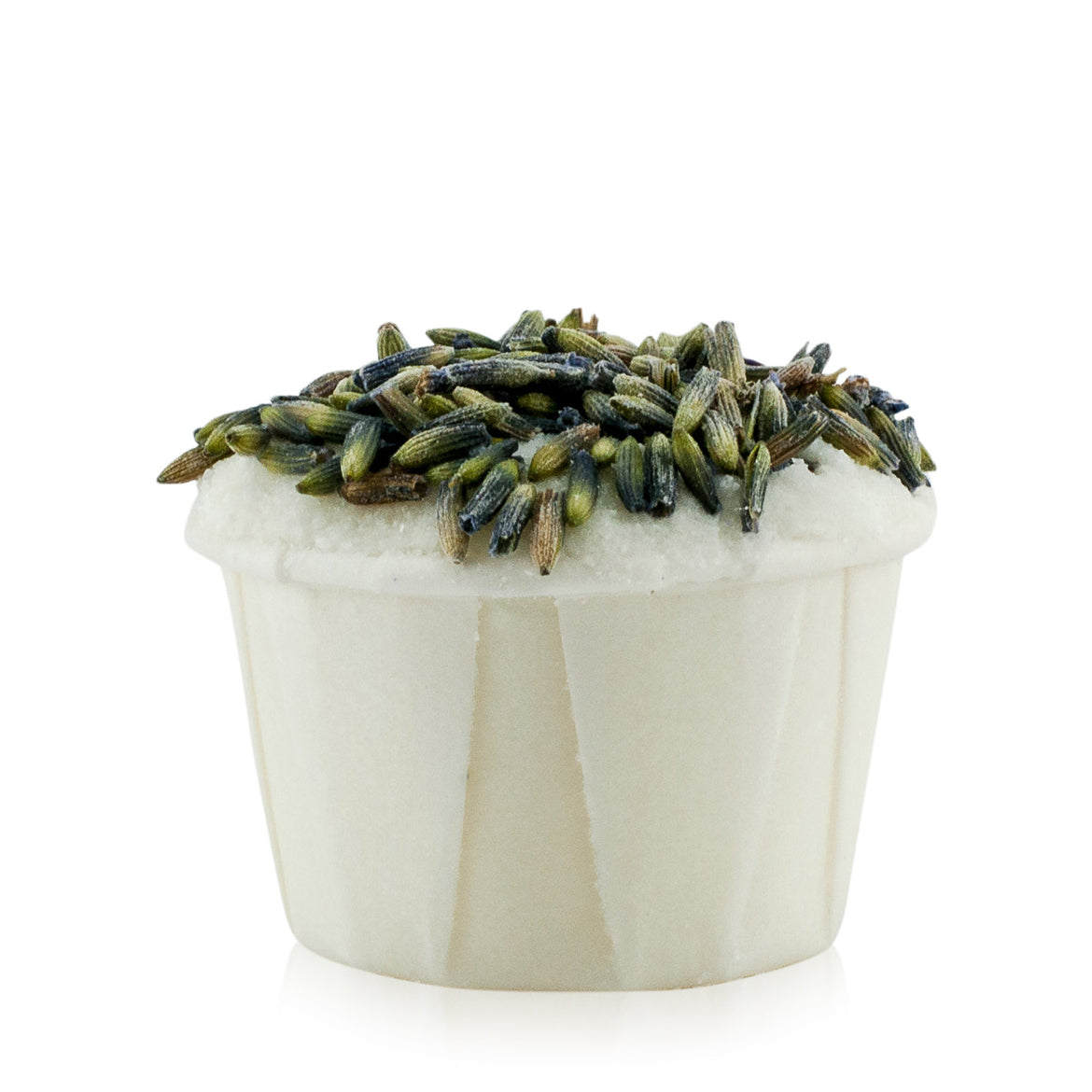 Natural vegan skincare lavender buttercup bath melt decorated with lavender buds with no packaging, handmade by WiDEYE in Rye.