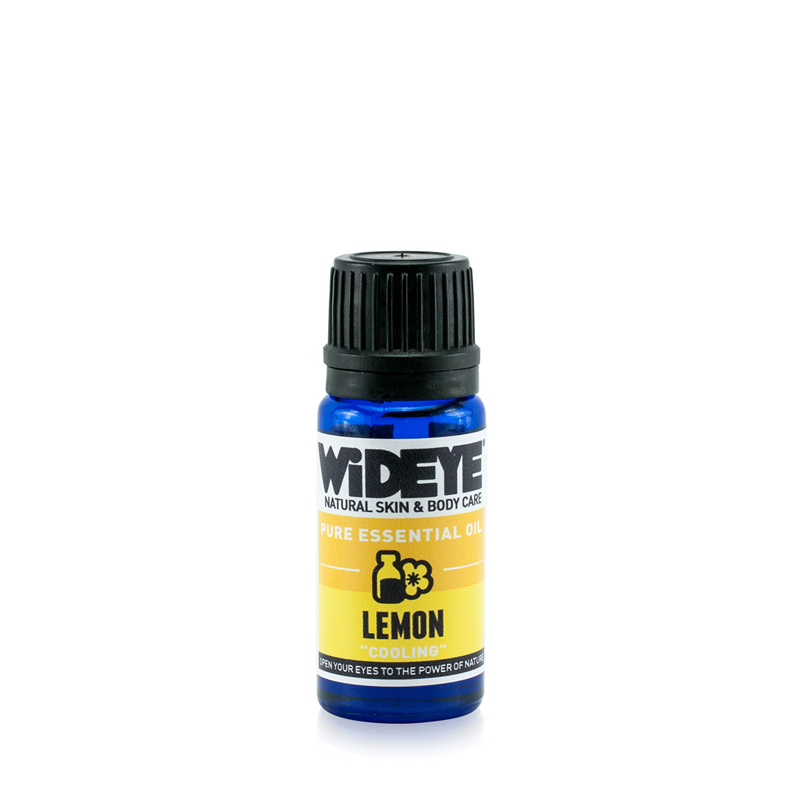 Natural aromatherapy Lemon essential oil in glass bottle by WiDEYE in Rye.