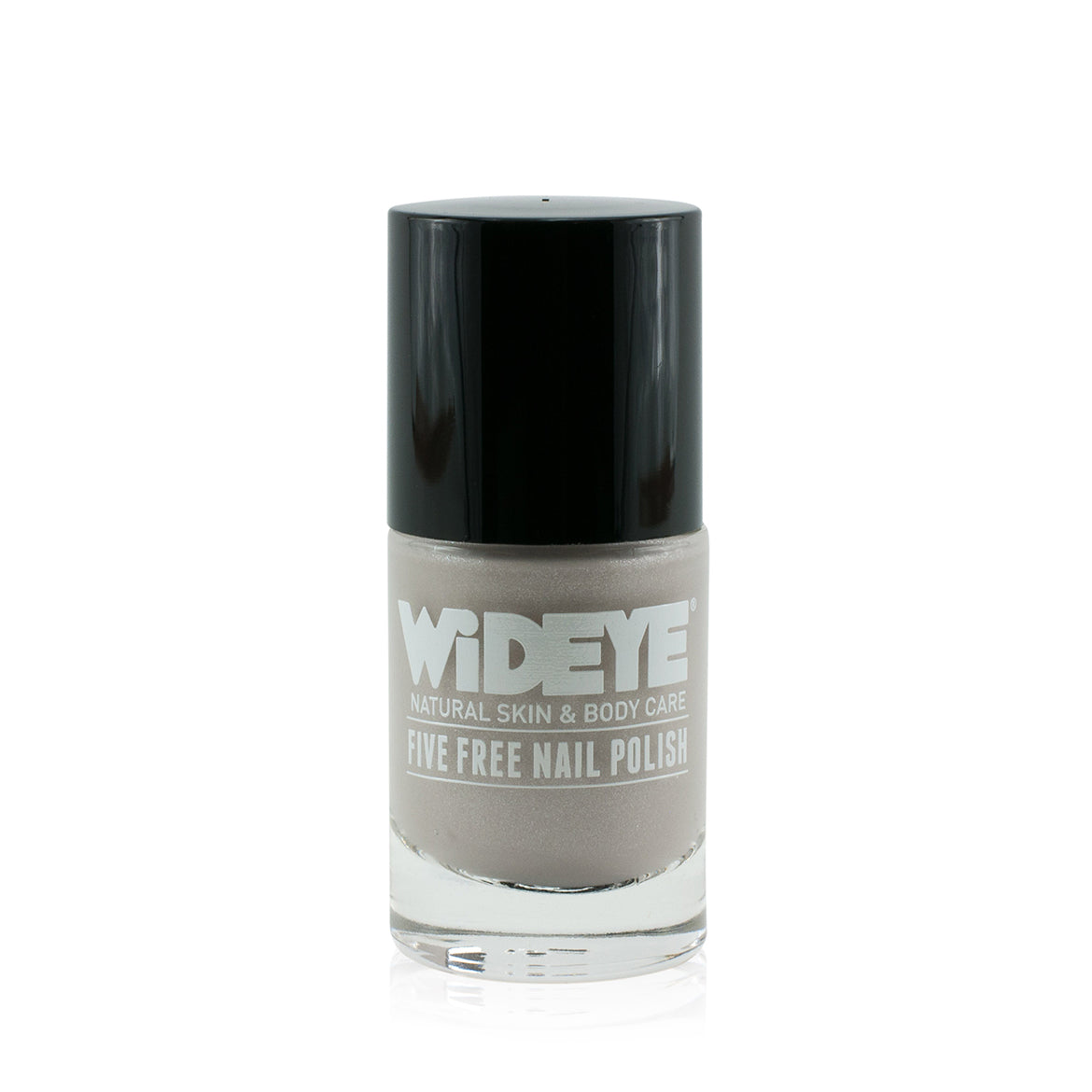 Silver shimmer nail varnish in glass bottle by WiDEYE.
