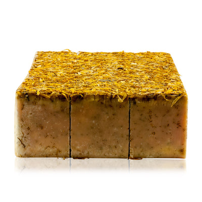 Natural vegan skincare Marigold butter soap block handmade by WiDEYE in Rye.