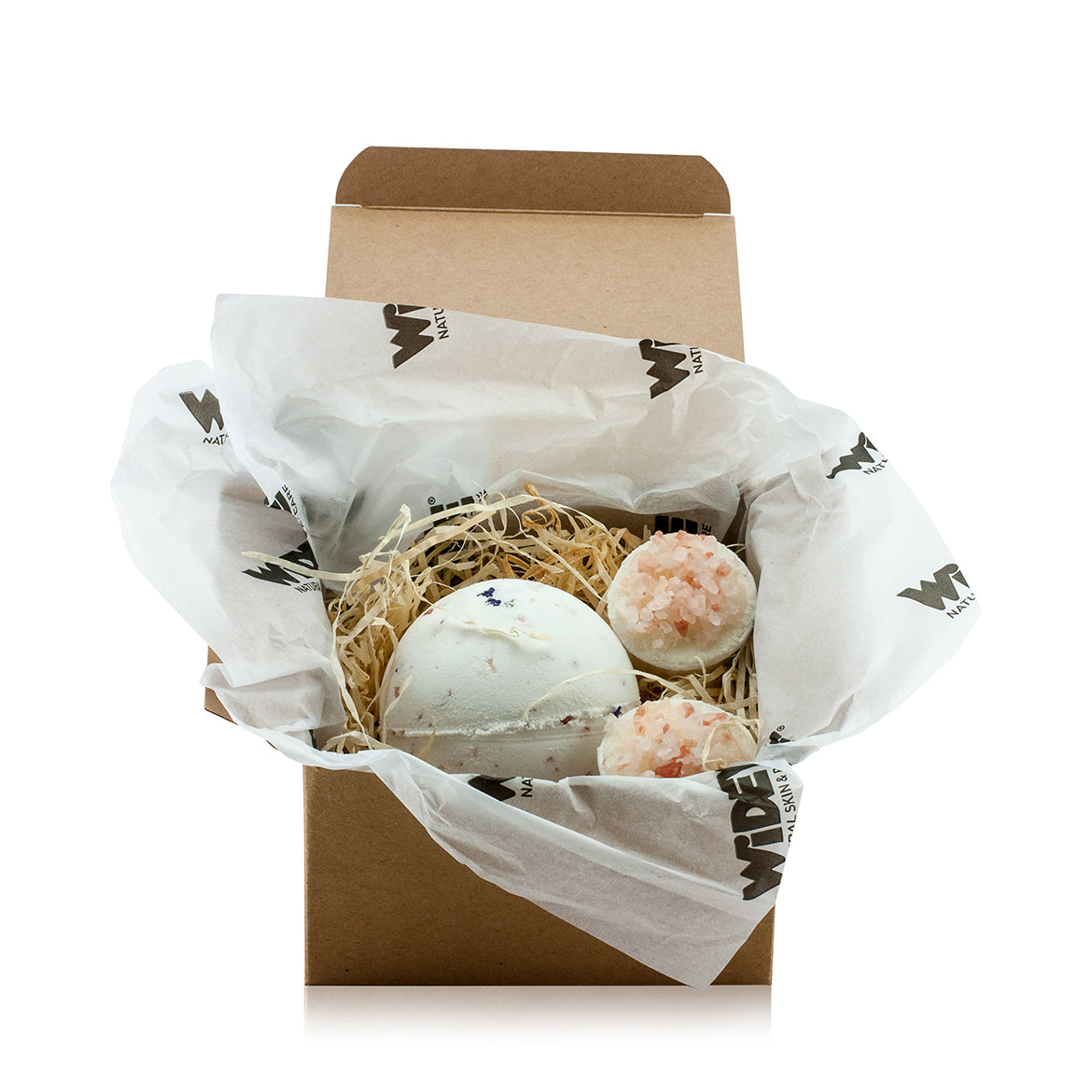 Natural vegan skincare Mini 'Aqua Karma' gift box with a bath bomb and butter cups, handmade by WiDEYE in Rye.