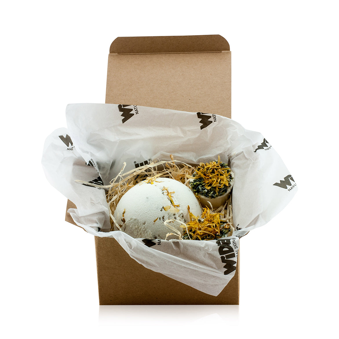 Natural vegan skincare Mini 'Beach Bum' gift box with a bath bomb and butter cups, handmade by WiDEYE in Rye.
