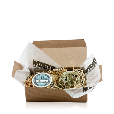 Natural vegan skincare Mini 'Foot Rescue' gift box with a foot balm and clay spa bath melt, handmade by WiDEYE in Rye.